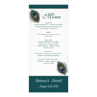 Green blue peacock feathers Menu  Rack Card