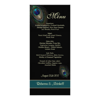 Green blue peacock feathers on black  Menu Rack Card Design