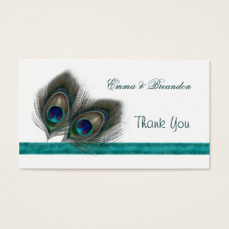 Green blue Peacock feathers Wedding Thank You Business Card