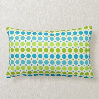 Green & Blue Polka Dot Pattern Lumbar Pillow