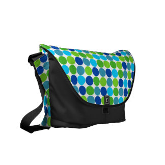 Green Blue Polka Dots Messenger Bag