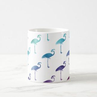 Green Blue Purple Flamingo Watercolor Tropical Coffee Mug