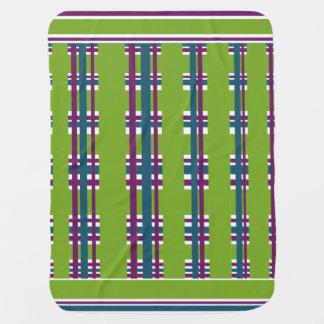 Green Blue Purple Striped Plaid Designer Babies Stroller Blankets