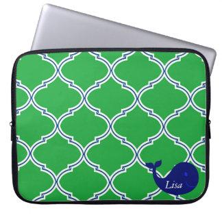 Green Blue Quatrefoil Preppy Whale Laptop Sleeve
