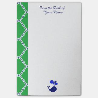 Green Blue Quatrefoil Preppy Whale Post-It Notes