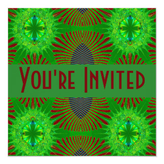 """green blue red fractal 5.25"""" square invitation card"""