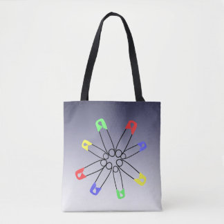 Green Blue Red Rainbow Solidarity Safety Pin Tote Bag