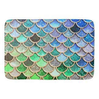 Green Blue Shiny Ombre Glitter Mermaid Scales Bath Mat
