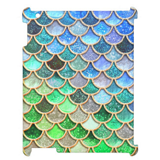 Green Blue Shiny Ombre Glitter Mermaid Scales iPad Covers