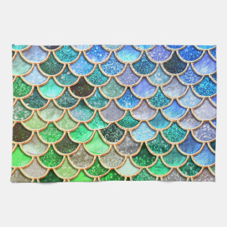 Green Blue Shiny Ombre Glitter Mermaid Scales Kitchen Towel
