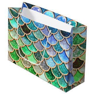 Green Blue Shiny Ombre Glitter Mermaid Scales Large Gift Bag