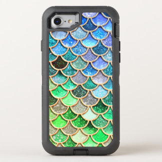 Green Blue Shiny Ombre Glitter Mermaid Scales OtterBox Defender iPhone 8/7 Case