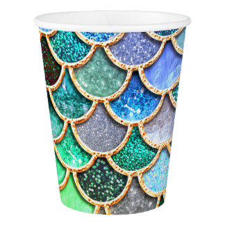 Green Blue Shiny Ombre Glitter Mermaid Scales Paper Cup