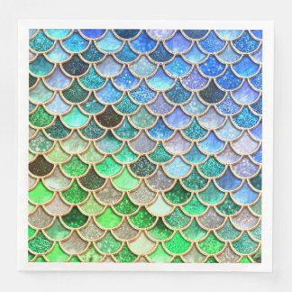 Green Blue Shiny Ombre Glitter Mermaid Scales Paper Napkin
