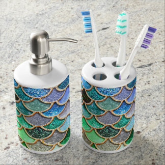 Green Blue Shiny Ombre Glitter Mermaid Scales Soap Dispenser And Toothbrush Holder