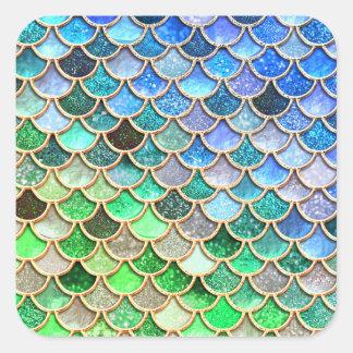 Green Blue Shiny Ombre Glitter Mermaid Scales Square Sticker
