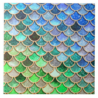 Green Blue Shiny Ombre Glitter Mermaid Scales Tile