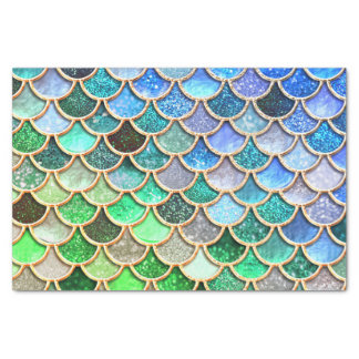 Green Blue Shiny Ombre Glitter Mermaid Scales Tissue Paper