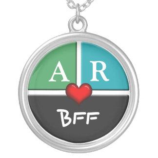 Green & Blue Slice Round BFF Friendship Necklace