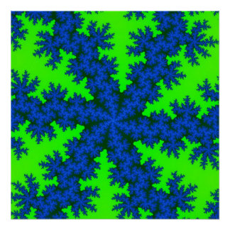 Green Blue Snowflake Poster
