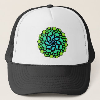 Green blue stone circle trucker hat