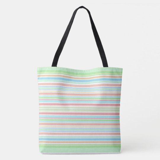 """Green / Blue Stripes"" tote bag."