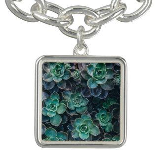 Green Blue Succulent Plants Charm Bracelet