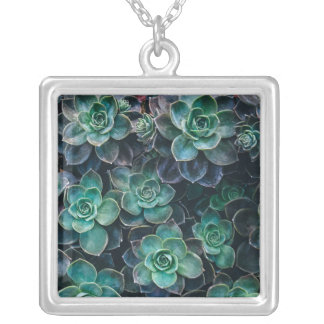Green Blue Succulent Plants Silver Plated Necklace