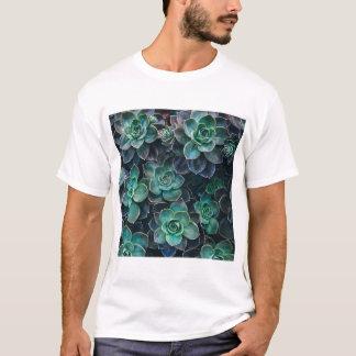 Green Blue Succulent Plants T-Shirt