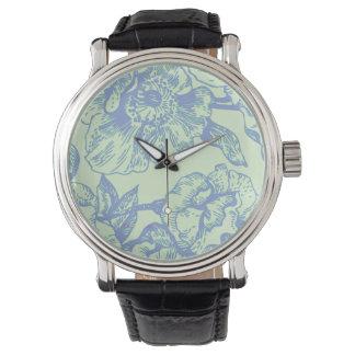 Green & Blue Vintage Floral Watch
