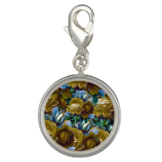 Green Blue Vintage Roses Charms