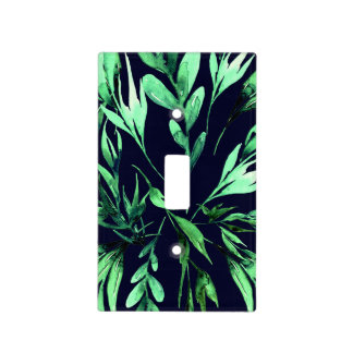 Green Blue Watercolor Botanical Glam Chic Elegant Light Switch Cover