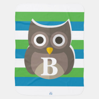 Green Blue White Stripe Pattern Owl Monogram Baby Blanket