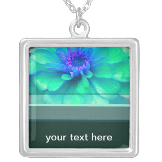 Green & Blue Zinnia Silver Plated Necklace