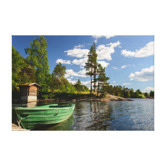 Green boat in a fjord in Norway Canvas Print