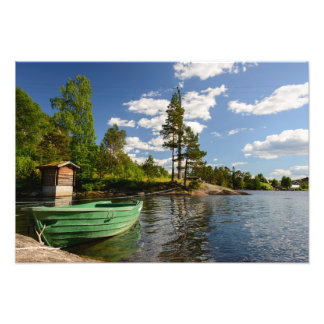 Green boat in a fjord in Norway Photo Print
