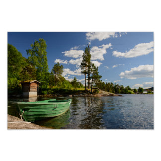 Green boat in a fjord in Norway poster print