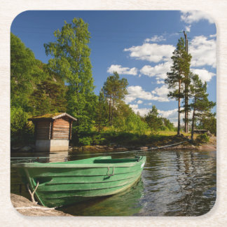 Green boat in a fjord in Norway Square Paper Coaster