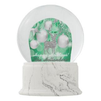 Green Bokeh Ornament Balls Silver Reindeer Snow Globe