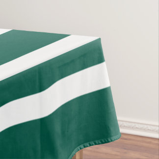Green Bold And White Stripes Pattern Tablecloth