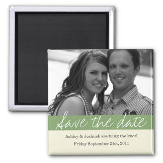 Green Bold Banner Photo Save The Date Magnet