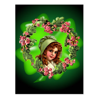GREEN BONNET & SHAMROCK by SHARON SHARPE Postcard
