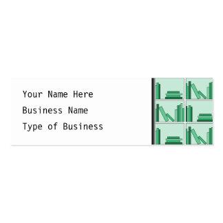 Green Books on Shelf. Mini Business Card