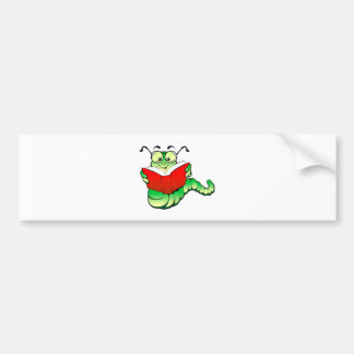 Green Bookworm with Glasses Reading a Red Book Bumper Sticker
