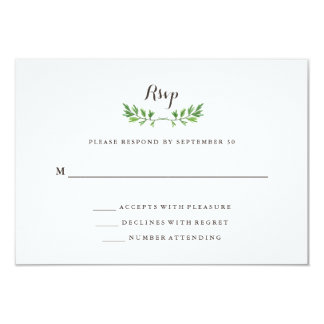 Green Botanical Leaves Wedding Response Card