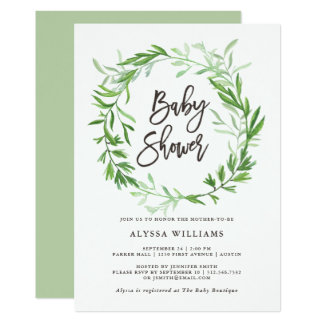 Green Botanical Leaves Wreath Baby Shower Card