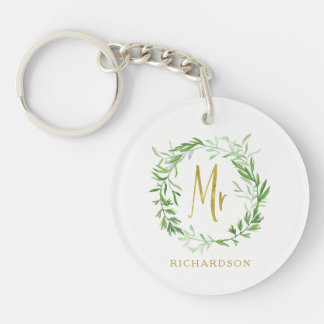 Green Botanical Leaves Wreath | Faux Gold Mr Double-Sided Round Acrylic Keychain