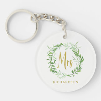 Green Botanical Leaves Wreath | Faux Gold Mrs Keychain