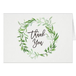 Green Botanical Leaves Wreath Wedding Thank You Card