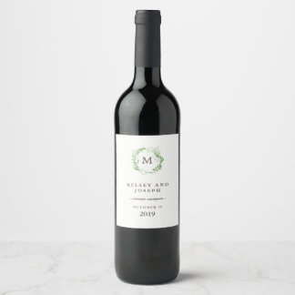 Green Botanical Leaves Wreath with Monogram Wine Label